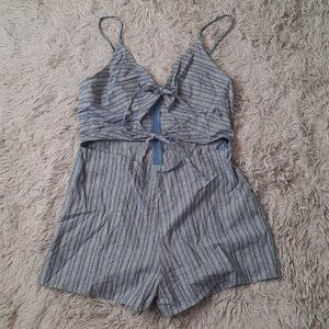 BARDOT Blue Striped Romper with 2 Front Ties